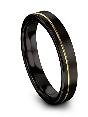 Midnight Rose Collection Tungsten Wedding Band Ring 4mm for Men Women 18k Yellow Gold Plated Flat Cut Off Set Line Black Brushed Polished Size 12