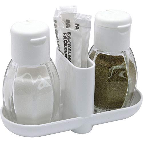FACKELMANN Menage Glas, 3-tlg, Salz, Pfeffer, Zahnstocher mit Stiftkappe