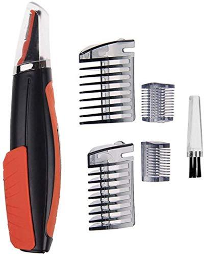 2-in-1 Multifunktions Haarscherer Trimmer Set mit LED-Beleuchtung, Tragbarer Batteriebetrieben Haarschneider für Rasur & Enthaarung,Augenbrauen Hälse, Nasenhaar, Schnurrbärte, Ohrenhaar (Orange)
