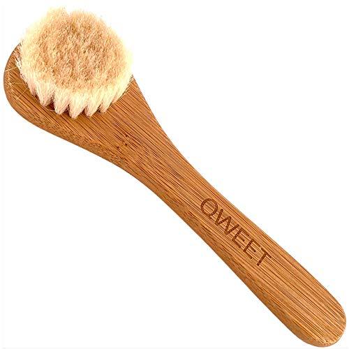 QWEET Cepillo de limpieza facial en seco manual de madera (bambú) y pelo de cabra para el cuidado facial Scrub Peeling Masaje exfoliante de la cara de la mujer Cepillado del pelo del bebé niña