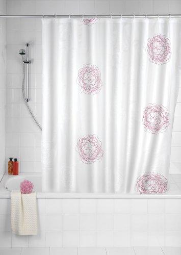 WENKO 19505100 Duschvorhang Scribble - hochwertiges Textilgewebe, waschbar, Kunststoff - PEVA, Weiß