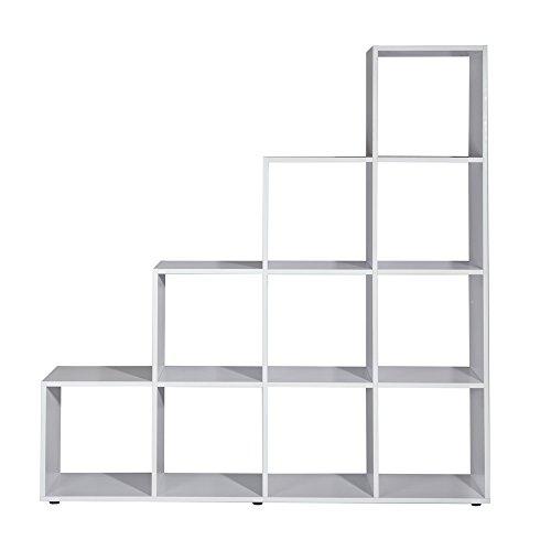Melko Treppenregal Weiß mit 10 Fächer Raumteiler Bücherregal Standregal Stufenregal