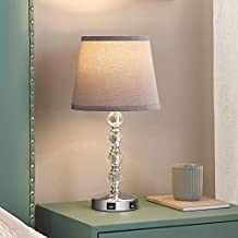 3 Way Dimmable Touch Control Crystal Table Lamp with 2 USB Charging Ports, Acaxin 17.7Inch Bedside Light with Mordern Gray Fabric Shade, Bed Lamp for Bedroom, Living Room, Guest Room(Bulb Included)