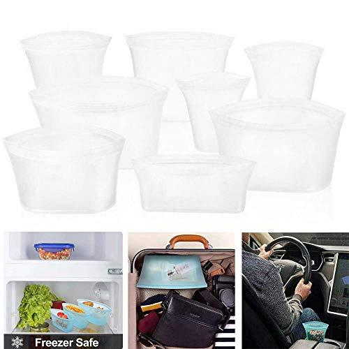 8-teilige Wiederverwendbare Silikon-Aufbewahrungstasche für Lebensmittel, auslaufsichere Behälter mit Reißverschluss Stand Up Leakproof Cup (Weiß)
