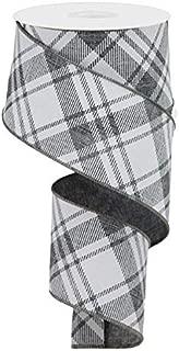 Diagonal Stripe/Check Wired Edge Ribbon - 10 Yards (Grey, White, 2.5