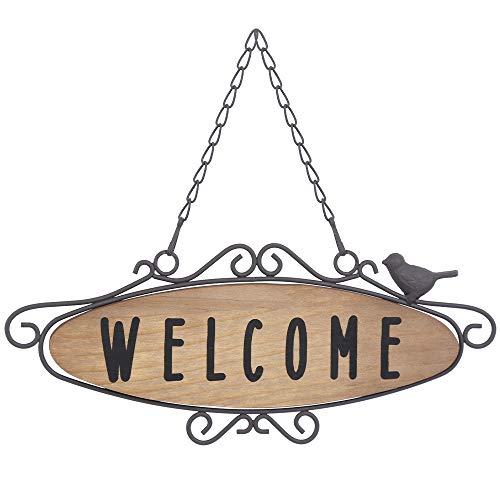 Robasiom Vintage-Wandbehang aus Metall, Willkommensschild, Haustür, Willkommensschild