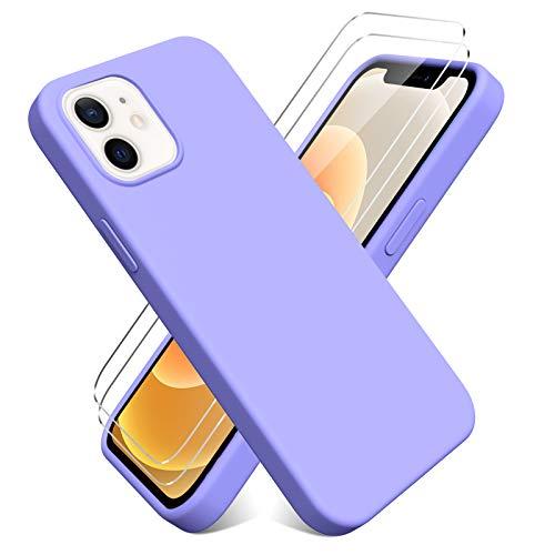 Oududianzi - Cover per iPhone 12 Mini(5.4'') + [2 Pack] Pellicola Protettiva in Vetro Temperato, Custodia Liquid Silicone TPU Cover Ultra-Sottile AntiGraffio Antiurto Case - Viola Chiaro