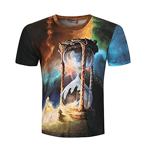 Camiseta 3D para Hombres y Mujeres MH056, Cuello Redondo Tops de Manga Corta, Unisex 3D Camisetas Casuales con diseño de Reloj de Arena-l
