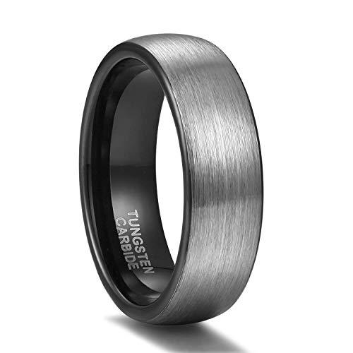 Titaniumcentral 6mm/8mm Wolframcarbid Ringe Gebürstet Trauringe Verlobungsringe (6mm(Wolframcarbid)-Schwarz, 67 (21.3))