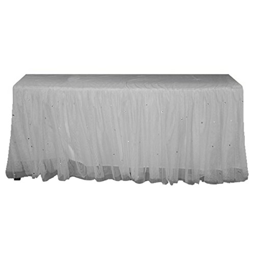 Sparkle Stones White Lined Tulle Double Layered Ruffled Table Skirt 1 Yard for Birthday Wedding Baby Shower
