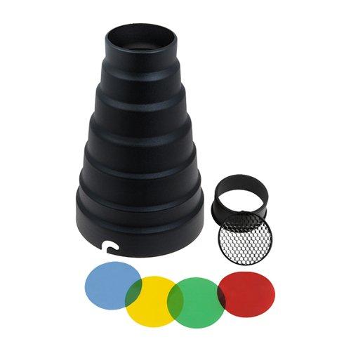 Fotodiox Elinchrom Snoot Small Blitz Engstrahler mit Gitter (20 Grad), 4 Farbgele für Elinchrom Blitzleuchte Calumet Genesis Stroboskop