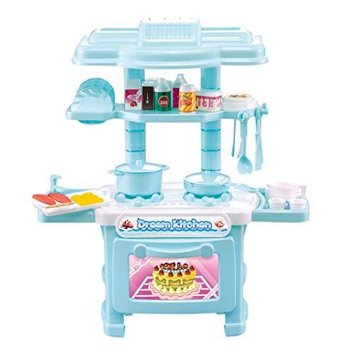 HSKB Juego de rol de cocina, juguete para niños, juego de alimentos, juego de fiesta, juego educativo de plástico con utensilios de cocina, incluye luz y sonidos de cocina para niños