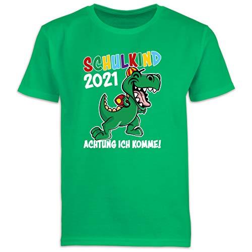 Einschulung und Schulanfang Geschenk - Schulkind 2021 Achtung ich komme! - weiß - 116 (5/6 Jahre) - Grün - Statement - F130K Schulanfang - Schulanfang Jungen T-Shirt Kinder