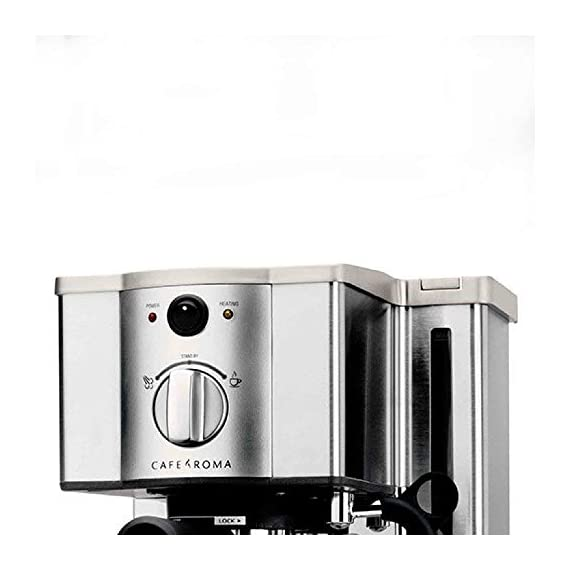 Breville esp8xl cafe roma stainless espresso maker 5 stainless-steel espresso machine with 15-bar thermoblock pump dual-wall filter system for excellent crema; froth enhancer, cup-warming plate accesories: stainless steel frothing pitcher tamping tool/measuring spoon/cleaning tool