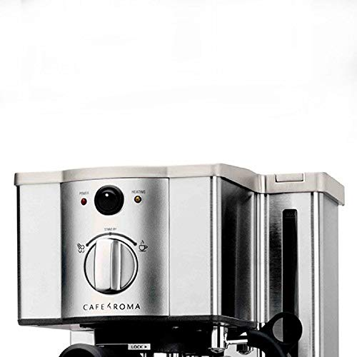 an espresso machine with a frothing pitcher