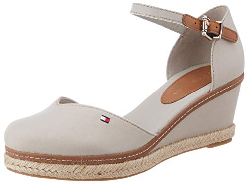 Tommy Hilfiger Damen Basic Closed Toe MID Wedge Peeptoe Sandalen, Beige (Stone Aep), 39 EU
