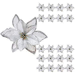 Glitter Poinsettia Centerpieces HUAESIN 20pcs Artificial Silk Poinsettia Flowers Christmas Tree Ornaments Fabric for Xmas Christmas Wreaths Garland Decorations Silver