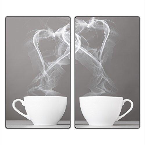 decorwelt | Herdabdeckplatten 2x30x52 cm Ceranfeldabdeckung 2-Teilig Universal Elektroherd Induktion für Kochplatten Herdschutz Deko Schneidebrett Sicherheitsglas Spritzschutz Glas Kaffee