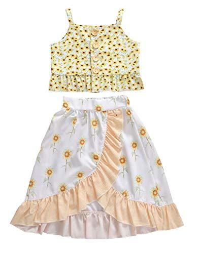 changchang Maluch dzieci dziewczynki słonecznik camisole letnie guziki bez rękawów spaghetti stap koszula top + kwieciste długie spódnice sukienka tutu boho strój strój odzież świąteczna