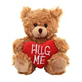 Plushland Stuffed Mocha Heart Bear - Plush Bear Toy for Kids & Adults - Embroidered Heart Pillow - Brown- 9 inches (Hug me 9'')