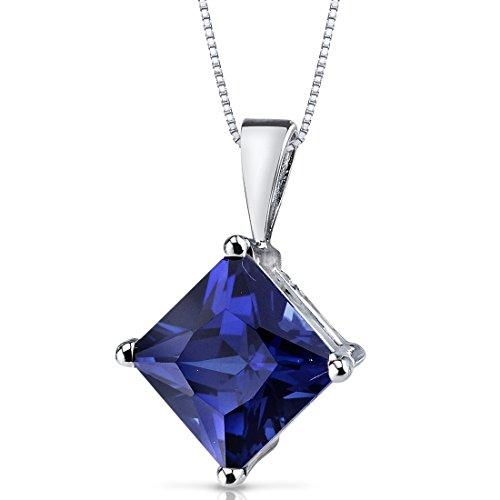 14 Karat White Gold Princess Cut 3.50 Carats Created Blue Sapphire Pendant