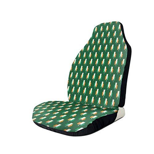 Auto Stoelen Cover Ierse Vlag Klaver Patroon Voorstoelen Cover 100% Polyester Auto Decor Bucket Seat Cover Ultra Duurzaam & Vuilafstotend Automotive Seat Protector voor SUV's Van Camper