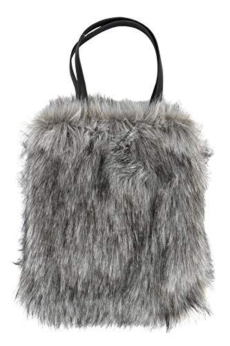 Henkeltasche in Fell Optik grau Handtasche Tasche Shopper Kunstfell