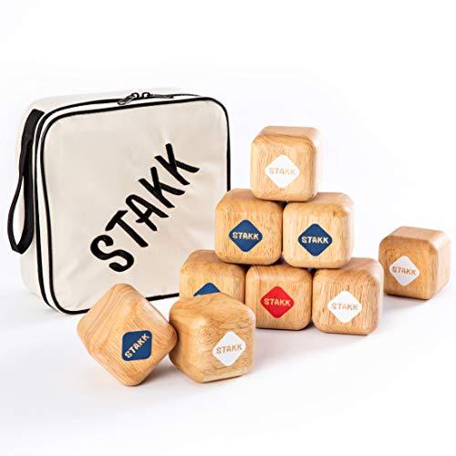 STAKK | Das Neue Outdoor-Wurfspiel für Kinder & Erwachsene | Boccia/Boule war gestern (Geschicklichkeitsspiel mit 9 robusten Holzwürfeln) - Erfunden in DE