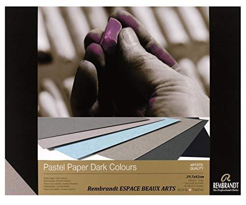 REMBRANDT Papier Pastel, Pastel sec, couleurs foncèes, 29.7x 42cm,160g, 6 couleurs,30 feuilles (France Import) Espacebeauxarts
