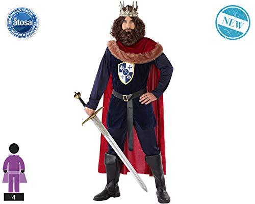 Atosa-63319 Atosa-63319-Disfraz Rey Medieval-Adulto XXL- Hombre- rojo, Color (63319) , color/modelo surtido