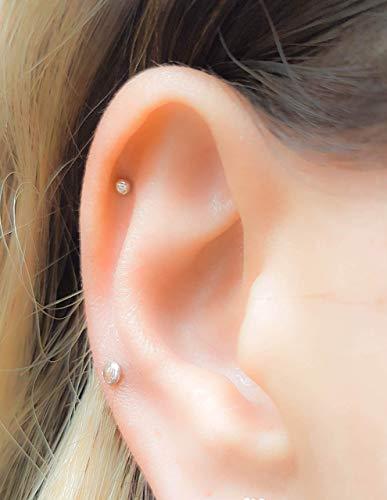 Super kleiner Punkt-Helix-Ohrring, 20g Helix Bolzen ohring, Helix-Piercing-Ohrstecker, 2mm 3mm 4mm, Silber, Gold, Roségold