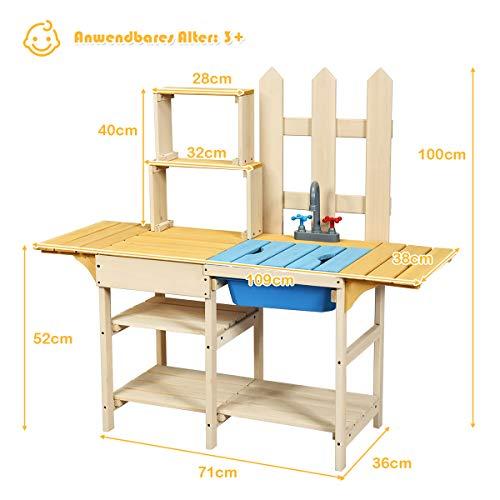 COSTWAY Matschküche mit Wasserhahn, Kinderküche Holz, Outdoor Küche, Holzküche, Spielküche, Spielzeugküche für Kinder ab 3 Jahren, 109 x 38 x 100 cm - 6