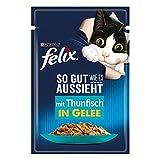 FELIX So gut wie es aussieht Katzenfutter nass in Gelee, mit Thunfisch, 26er Pack (26 x 85g)
