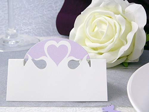 EinsSein 10x Tischkarten Hochzeit Herz Dame Flieder Hochzeit, Tischkarten, Platzkarten, Namenskarten, Herz Schmetterling Stuhl Rosen Ringe