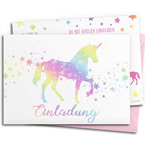 10x GLITZER Einladungskarten für Kindergeburtstag mit pastell rosa UMSCHLÄGEN | Regenbogen-Einhorn | Mädchen & Jungen | Geburtstagseinladungen bunt Einladungen Geburtstag Kinder Pferd Sterne Glitter