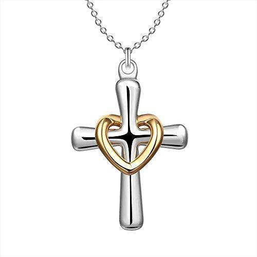 Verzilverd Kruis Hanger Ketting 4.2 x 2.4cm Met 18 Inch Keten Goud Liefde Hart Kruisbeeld Christian Jezus