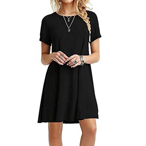 Kcibyvx Damen-Sommerkleid, Übergröße, kurze Ärmel, Midi-Swing-T-Shirt, einfarbig, Rundhalsausschnitt, lässig, lockerer Pullover Gr. XX-Large, Schwarz