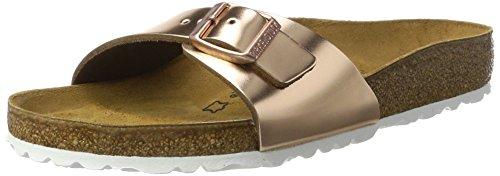 Birkenstock Classic Damen Madrid Leder Pantoletten, Braun (Metallic Copper), 41 EU