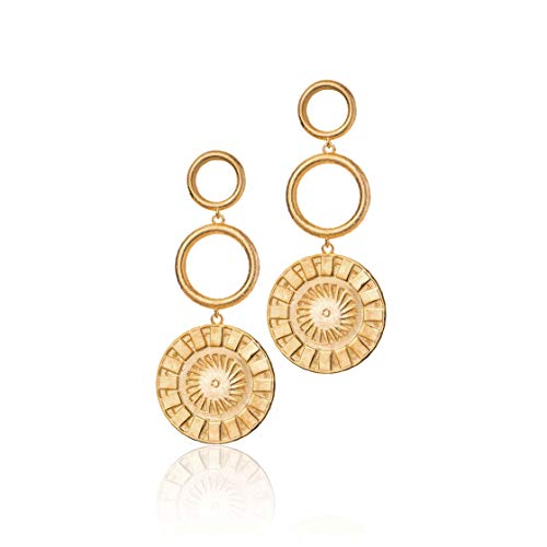 Honey Minx Women's Three Step Coin Earrings Gold