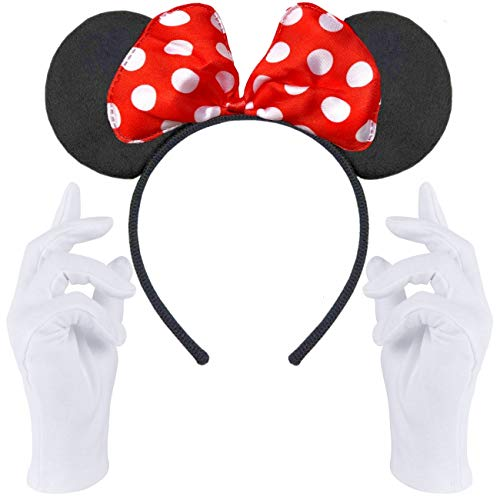 Haarreifen in schwarz mit Maus Ohren Mouse mit Schleife in rot mit weißen Punkten + weiße Handschuhe für Erwachsene & Kinder