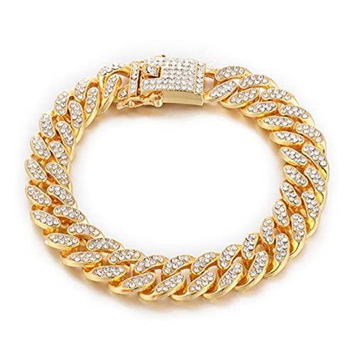 CHENLING Diamantes de imitación pavimentados, 1 Unidades de oro de 13 mm, cadena cubana llena de Miami bordillo CZ Bling rapero collares para hombres Hip Hop joyería