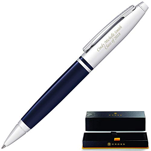 Engraved Cross Pen   Personalized Cross Calais Ballpoint Pen - Blue. 2 Lines of Engraving Included. Customized in 1 day. Graduation Pen, or Gift for Men or Women