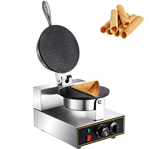 Happybuy Electric Ice Cream Cone Waffle Maker Machine 1200W Stainless Steel Nonstick Surface for Commercial Home Use Egg Roll