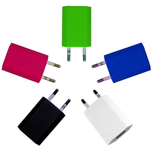 [i!®], USB-voeding, oplader, stekkeradapter, stekker, 5V/1A, compatibel met [Apple iPhone 6 6 Plus 6S 5 5C 5S, Samsung Galaxy S2 S3 S4 S5 S6 Edge Tab 3 Note 2/3/4, HTC One, Google LG Nexus 4/5/6/7, NOKIA LUMIA, Sony Xperia, en nog veel meer...], kleurig