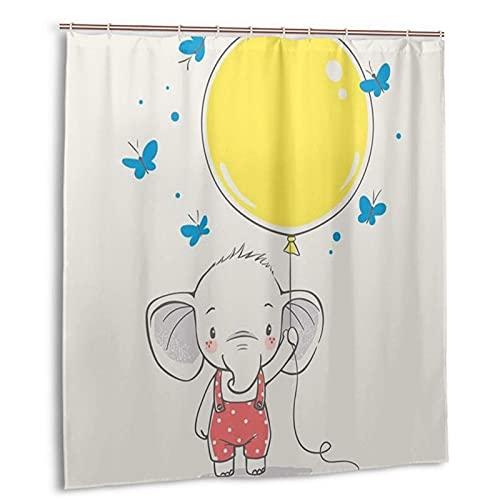 KENADVI Cortina de Ducha de baño Lavable,Elefante Animal con Mariposas de Globo Amarillo,con Ganchos Tela de poliéster Impermeable decoración de baño 66 x 72 Pulgadas