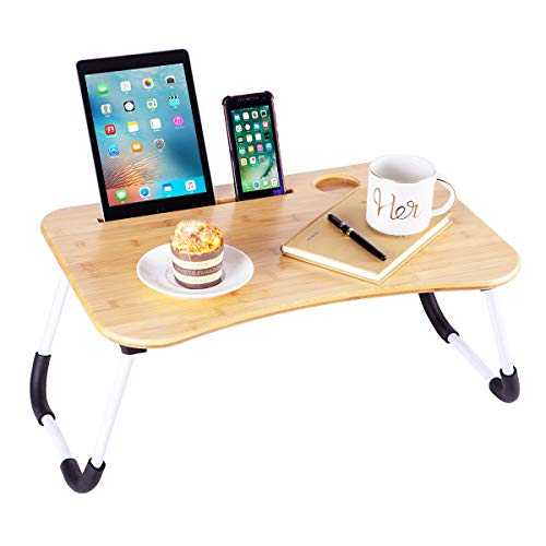 Bamboo Lap Desk Breakfast Serving Bed Tray Sofa Tray with Foldable Legs