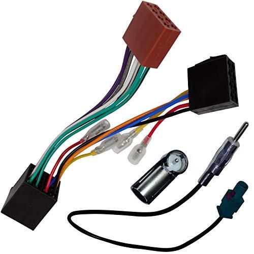 AERZETIX - Kit de Montaje de Radio de Coche estándar - Cable Enchufe de alimentación - Adaptadores de Antena - C12066B