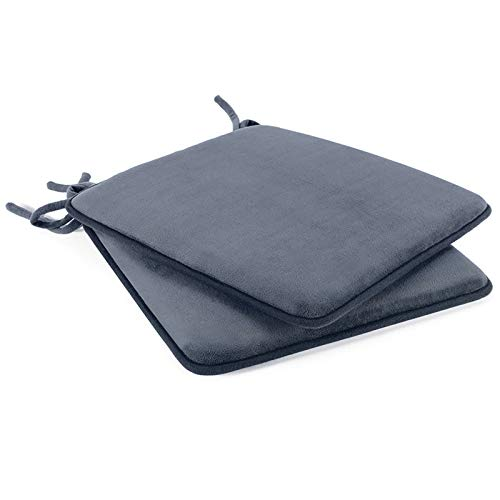 """Shinnwa Dining Chair Pads,2 Pack Non Slip Memory Foam Kitchen Chair Cushions Pads with Ties and Gripper Backing (16"""" Square,Velvet Gray)"""