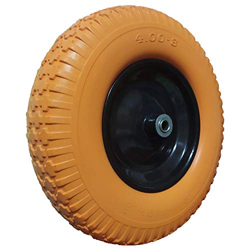 "4.00-8 Flat Free Wheelbarrow Tire, Flat-Free Tire 16 with 5/8"" Bearing Wheel, Foamed Polyurethane Tire for Garden Outdoor Cart Wagon, 3.5"" Hub, Orange(Set of 2)"