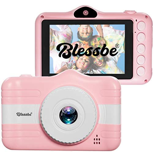 """BLESSBE Kids Digital Front and Rear Selfie Dual Camera with 3.5"""" Screen Child Real Camera for Childrens Cute Digital Camcorder Video Recorder (Pink) BB63"""
